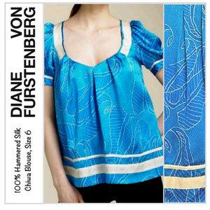 EUC Diane von Furstenberg Hammered Silk Chiwah Top